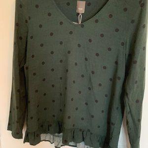 NWT ICHI Green polka dot longsleeve blouse- 6